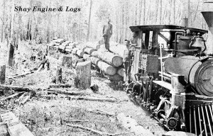 shay engine & logs oversize postcard size with caption after